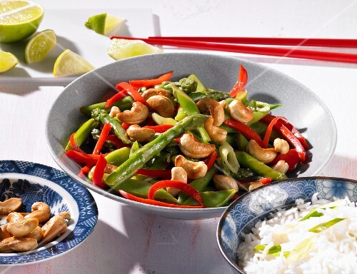 A bean salad with cashew nuts and peppers