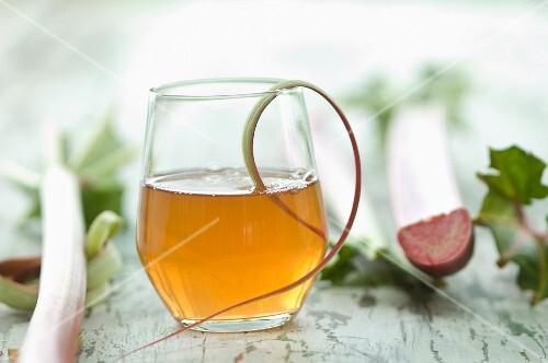 A glass of homemade rhubarb juice