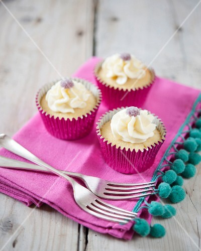 Vanilla cupcakes decorated with jelly sweets