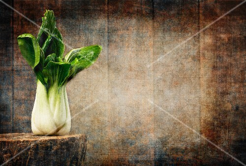 Bok choy on a tree stump against a wooden board