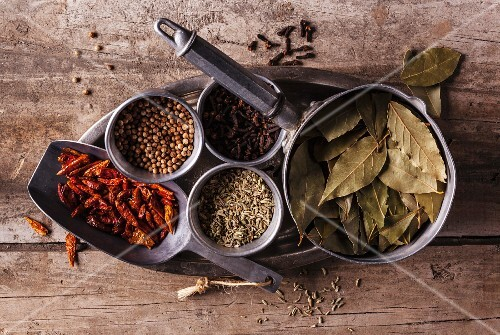 An arrangement of various spices (seen from above)