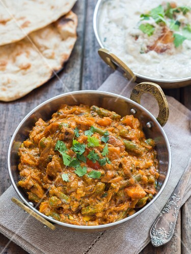 Vegetable masala in a copper pan (India)