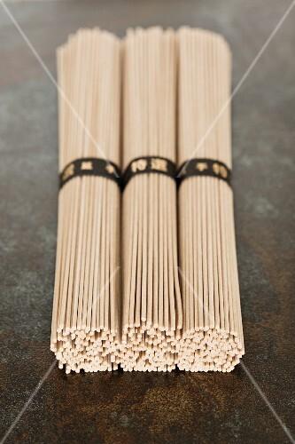Three bundles of Japanese soba noodles
