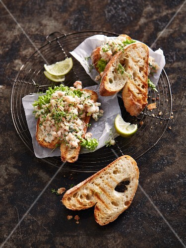 Grilled bread with prawn salad and cress