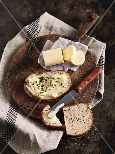 Bread spread with chive butter