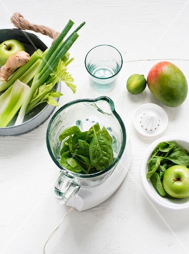 Fresh spinach leaves and a mixer surrounded by green fruit and vegetables