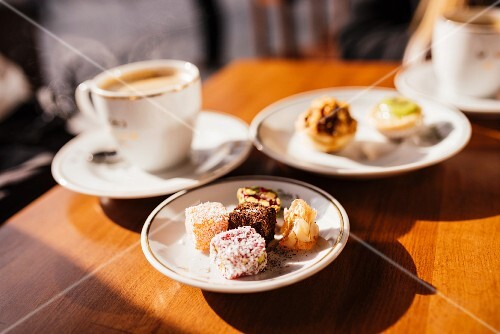 Turkish delight served with coffee on a table outside (Istanbul, Turkey)