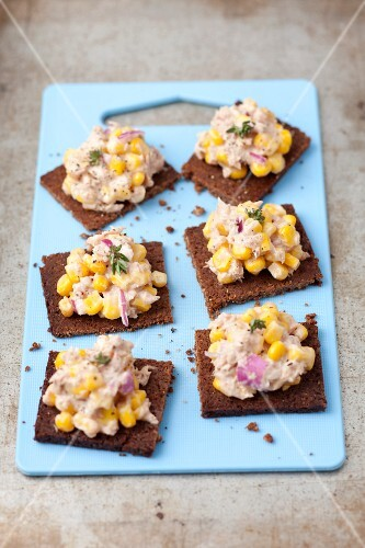 Pumpernickel bread with tuna paste, sweetcorn and red onions