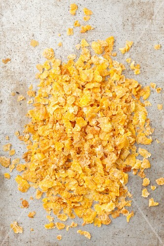 Cornflakes on a stone surface
