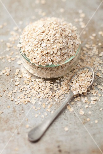 Oats in a glass bowl