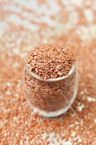 A jar of flax seeds