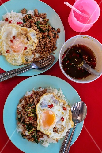 Spicy pork with Indian basil and egg (Thailand)