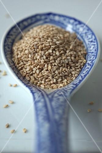 Sesame seeds on an oriental porcelain spoon (close-up)