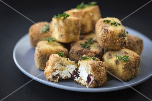 Breaded diced cheese with cranberries