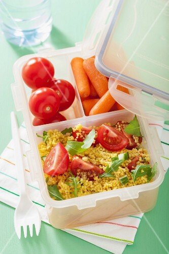 Couscous salad and mini vegetables in a lunchbox