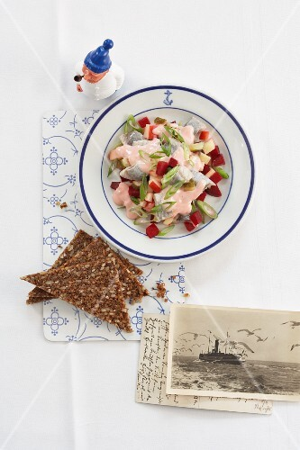 Herring salad with apples and beetroot