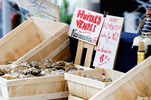 Fresh French oysters at a market