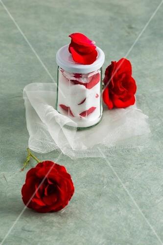 Rose sugar and red roses