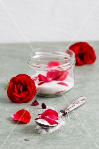 Rose sugar in a screw-top jar