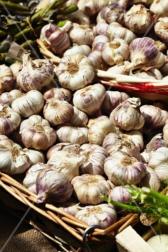 Dried garlic in large baskets