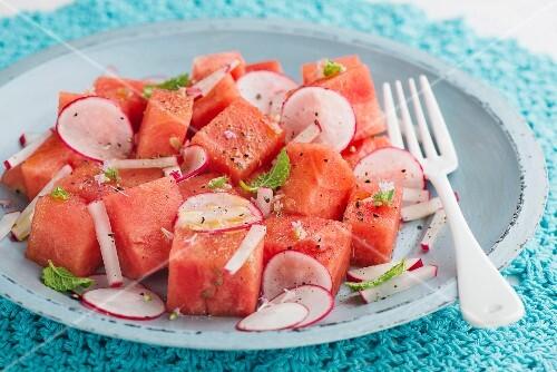 Melon and radish salad