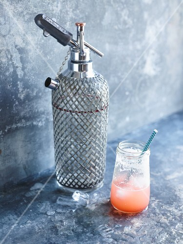 Rhubarb, strawberry and raspberry lemonade with a soda syphon