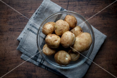 New potatoes in a glass bowl