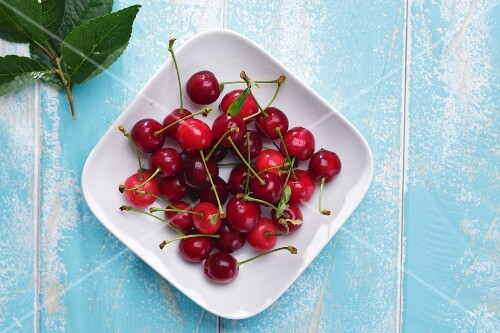 Fresh cherries on a plate (seen above)