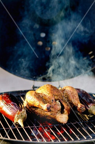 Chicken and aubergines on a barbecue (Lebanon)
