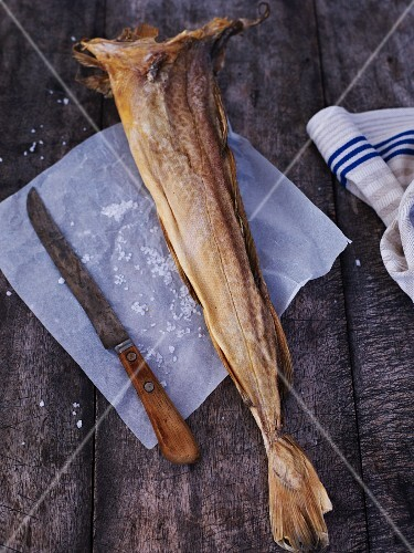Stock fish on parchment paper