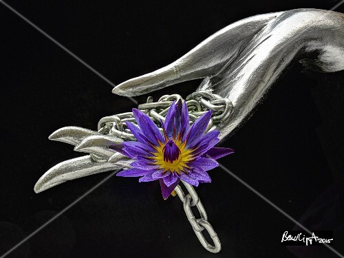A silver hand with a chain and an exotic flower