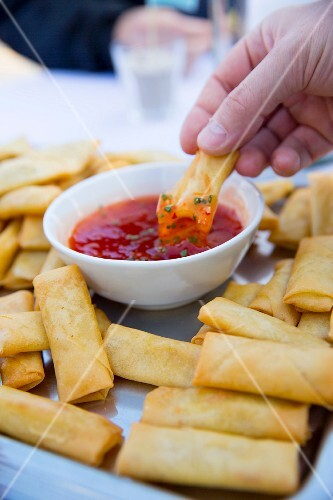 Platter of Fried Spring Rolls with Dipping Sauce