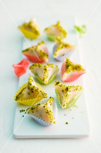 Marzipan triangles with an apricot filling