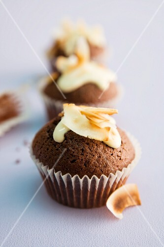 Chocolate muffins with grated coconut