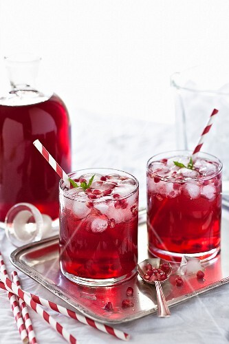 Pomegranate drinks with mint