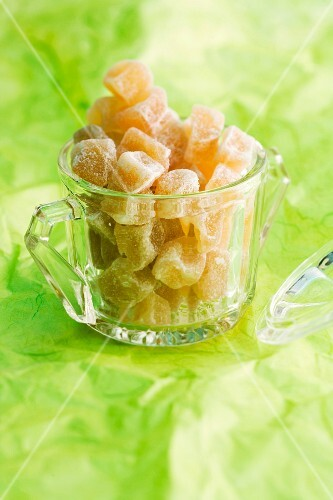 Candied ginger in a glass