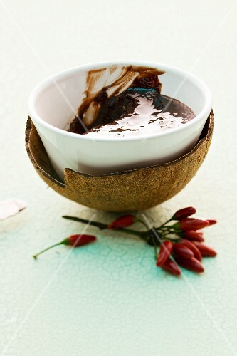 Chocolate spread with chillis in a coconut