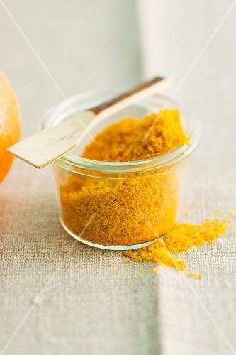 A jar of orange powder