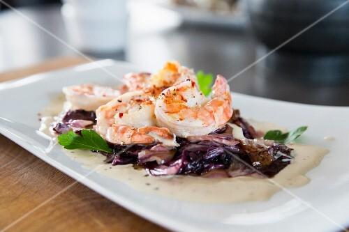 Scampi on a radicchio salad with a Gorgonzola sauce