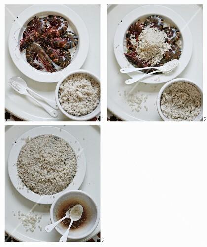Prawns being baked in salt