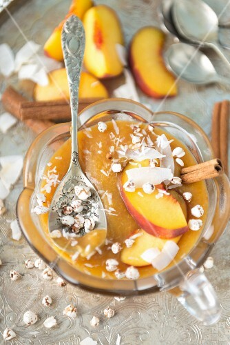 Peach purée with puffed buckwheat and coconut