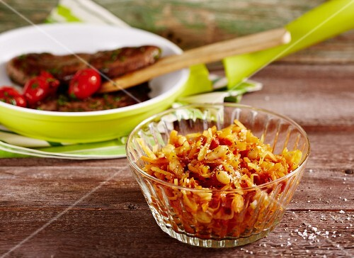 Spicy white cabbage and sweet corn relish with peppers