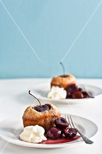 Friands with cherries and cream