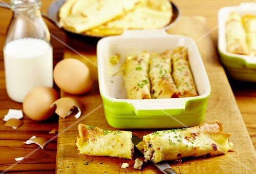 Crêpes with a fine veal filling