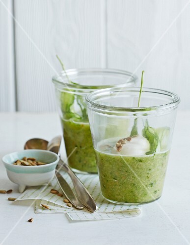 Cucumber gazpacho with sunflower seeds in glasses