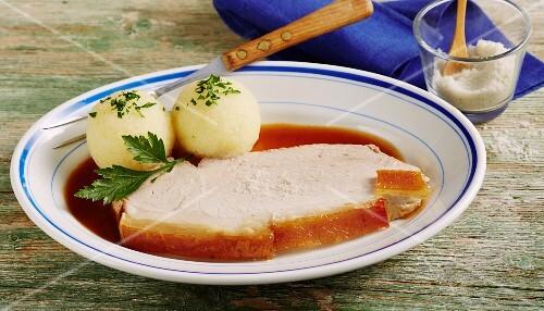 Roast pork with crackling and potato dumplings