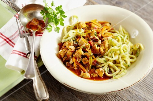 Chicken ragout with herb spätzle (soft egg noodles from Swabia)