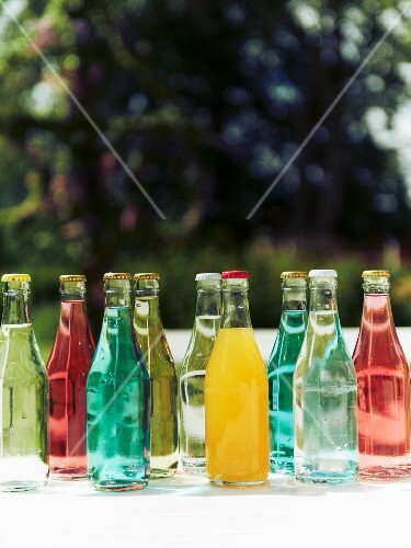 Various drinks in bottles for a mid-summer festival