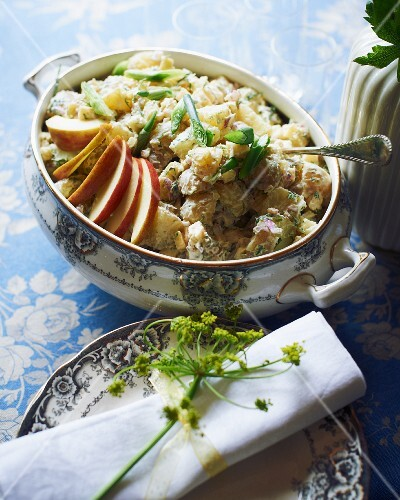 Potato salad with apple for a mid-summer festival