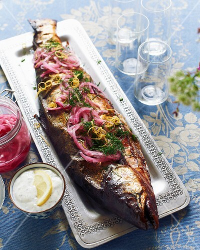 Smoked salmon with red onions and dill